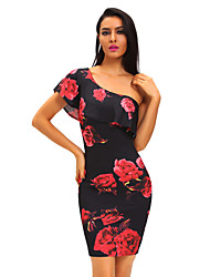 Women's Ruffle Rose Print Frill One Shoulder Midi Dress