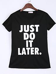 Tee-shirt Aux femmes,Lettre Décontracté / Quotidien simple Eté Manches Courtes Col Arrondi Blanc / Noir Coton Fin