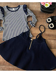 Girl's Going out Striped Tee / SkirtCotton Black