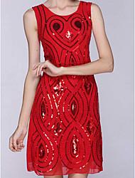 Moulante Robe Femme Sortie Vintage,Couleur Pleine Col en V Au dessus du genou Sans Manches Rouge Argent Coton Printemps Taille Normale