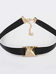 Necklace Choker Necklaces Jewelry Party Square Geometric Alloy Leather Women Gift
