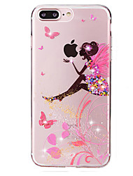 Butterfly Girl Pattern Crystal Glitter Diamond Soft TPU Back Cover Cases for iPhone 7 7 Plus