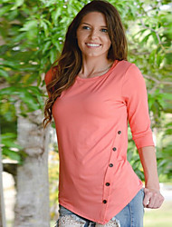 Women's Going out Casual/Daily Simple Street chic Irregular Button Spring Fall T-shirtSolid Round Neck  Sleeve Medium