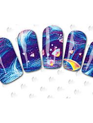 Autocolantes de Unhas 3D - Desenho Animado / Flôr / Adorável - para Dedo - de Outro - com 40PCS -15cm x 10cm x 5cm (5.91in x 3.94in x