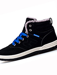 Men's Boots Fall Winter Comfort Fabric Casual Flat Heel Lace-up Black Blue Green Walking