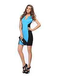 Feminino Tubinho Vestido, Casual / Trabalho Sensual / Moda de Rua Estampa Colorida Decote V Acima do Joelho Sem Manga Azul / Verde