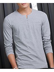 Tee-shirt Hommes,Couleur Pleine Décontracté / Quotidien Chinoiserie Automne / Hiver Manches Longues Col en V Bleu / Blanc / Noir / Gris