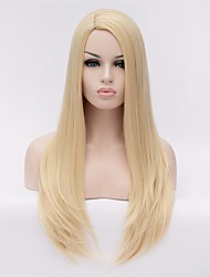 Fashion Wig Ladies Golden Long Straight Hair Natural Fluffy Liu Haiguang High Temperature Wire Wig