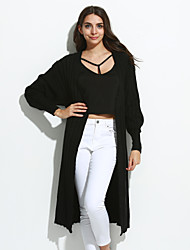 Simple Long Cardigan,Solid Black Brown Gray Green V Neck Long Sleeve Wool Spring Medium Inelastic