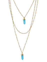 Three Layers Long Chain Pendant Necklace for Women
