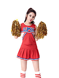 Women Sexy Football Cheerleader Uniform High School All Star Super Bowl World CupCheering Squad Costumes Solid Top / Skirt