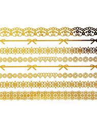Золотистый - Тату со стразами - Временные тату - для Женский/Girl/Взрослый/Подростки - #(1) - #(15x9) - С рисунком - Бумага