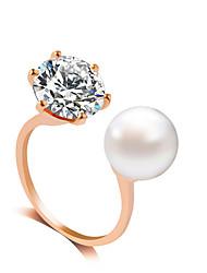 Ring Rhinestone Pearl Imitation Pearl Rhinestone Simulated Diamond Alloy Gold Silver Jewelry Wedding Party 1pc