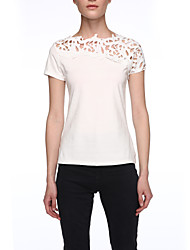 Women's Solid White / Yellow T-shirt,Round Neck Short Sleeve