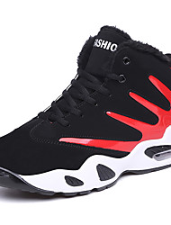 Masculino-Tênis-ConfortoPreto e Vermelho Preto e Branco-Couro Ecológico-Ar-Livre Casual Para Esporte