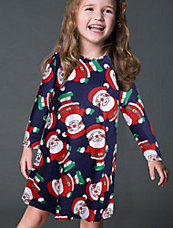 Girl's Print Dress,Cotton Fall Long Sleeve