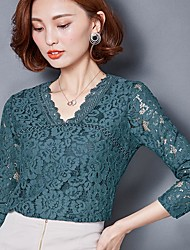 подписывать новый 2017 новых длинные рукава тонкого корейского ярдова блузок v-образный вырез длинной рубахи