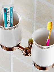 Top Quality Luxury European Style Copper & Jade Toothbrush Tumbler&Cup Holder With 2Cups Wall Mounted Bath Product