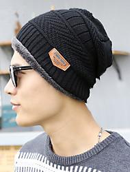 Fashion Winter New Men 'S Knitted Ski Hat Iron Superscript Twill Korean Wool Cap Head Cap