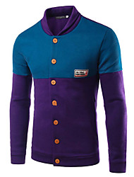 Men's Casual/Daily Simple Jackets,Color Block Stand Long Sleeve Fall Winter Blue Gray Purple Cotton Medium