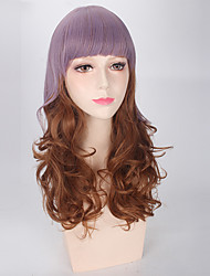 Anime Silky Wave Lolita Brown Color Mixed  Purple with Full Bang Lovely Synthetic Wig Heat Resistant Personality Party Cosplay Wig New Design