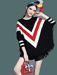 Normal Cape / Capes Femme Décontracté / Quotidien simple,Couleur Pleine Rouge Noir Col Arrondi Manches Longues Polyester Printemps Automne