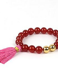 Women's Strand Bracelet Beaded Gemstone Agate Gold Plated Jewelry For Casual