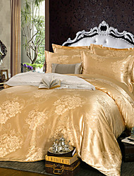Silk Jacquard Bedding Sets Golden  Full Queen Size 4pcs(Some Customers May Have Received The Old Design)