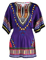 Ample Robe Femme Décontracté / Quotidien simple,Couleur Pleine Col en V Au dessus du genou ½ Manches Violet Soie Eté Taille BasseNon
