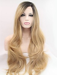 Synthetic Lace Front Wigs Ombre Two Tone #1B/Blonde Color Natural Wavy 22 Popular For Women
