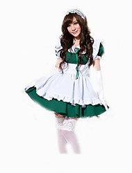 Cosplay Costumes Party Costume Maid Costumes Career Costumes Movie Cosplay Purple Green Solid Dress Headwear Halloween Carnival Female