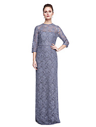 2017 Lanting Bride® Sheath / Column Mother of the Bride Dress - Sparkle & Shine Floor-length 3/4 Length Sleeve Lace with Sequins