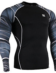 Men's Long Sleeve Running Tops Breathable Summer Sports Wear Running Spandex Tight Black Floral / Botanical