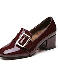 Women's Heels Spring Comfort PU Casual Chunky Heel Hollow-out Black Burgundy Walking