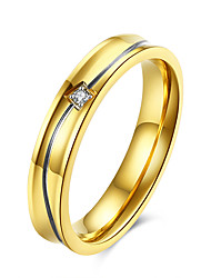 Gold Plated Curving Striped 4mm Band Stainless Steel Wedding Rings For Couples Fashion  Womens Ring