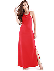 Women's Formal Sexy Bodycon Dress,Solid Strap Maxi Sleeveless Red Others Summer High Rise Micro-elastic Thin
