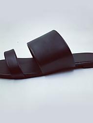 Damen-Sandalen-Lässig-PU-Niedriger Absatz-Komfort-Schwarz Weiß