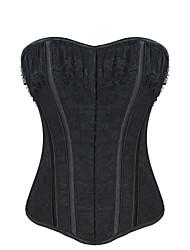Shaperdiva Women Black Vintage Lace Bustier Overbust Corset Tops