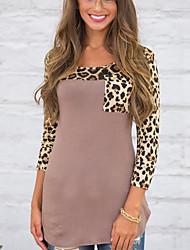 Feminino Camiseta Casual Simples Todas as Estações,Estampa Animal Marrom Tipos Especiais de Couro Decote Redondo Manga Longa Opaca Média