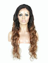 130% cabelo malaio virgens frente perucas do laço do cabelo onda do corpo desnity dois tons ombre T1b / cor dourada loira virgem do cabelo