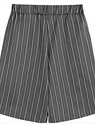 Women's Wide Leg Shorts Pants,Casual/Daily Boho Plaid Low Rise Zipper Button Cotton Inelastic Summer
