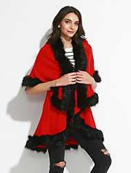 Women's Formal / Party/Cocktail Vintage / Sophisticated Regular Cloak / Capes,Solid Shawl Lapel ¾ Sleeve Double Faux Fur