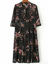 Feminino Bainha Túnicas Vestido, Para Noite Casual Férias Vintage Temática Asiática Sofisticado Floral Colarinho de Camisa MédioManga