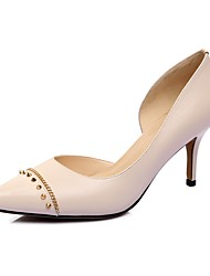 Women's Heels Spring Summer Fall Cowhide Office & Career Dress Casual Party & Evening Stiletto Heel Rivet Blue Nude