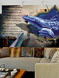 JAMMORY Art DecoWallpaper For Home Wall Covering Canvas Adhesive required Mural 3d Dolphin Newspaper Background XL XXL XXXL