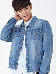 Men's Casual/Daily Street chic Denim Jackets,Solid Long Sleeve Blue Cotton