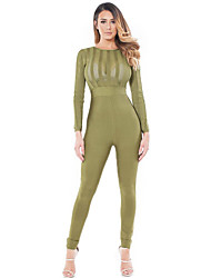 Women's Olive Striped Sheer Top Jumpsuit