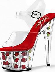 Damen-Sandalen-Hochzeit Kleid Party & Festivität-PVC-Stöckelabsatz Plateau Kristallabsatz-Komfort Neuheit-Rosa Rot Weiß