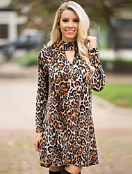 Women's Going out Sexy Shift Dress,Leopard Turtleneck Knee-length Long Sleeve Brown Polyester Fall Mid Rise Micro-elastic Medium