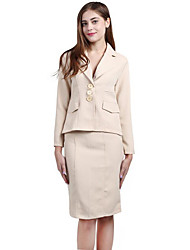 Women's Work Sophisticated Spring Suits,Solid Shirt Collar Long Sleeve Beige Polyester Spandex